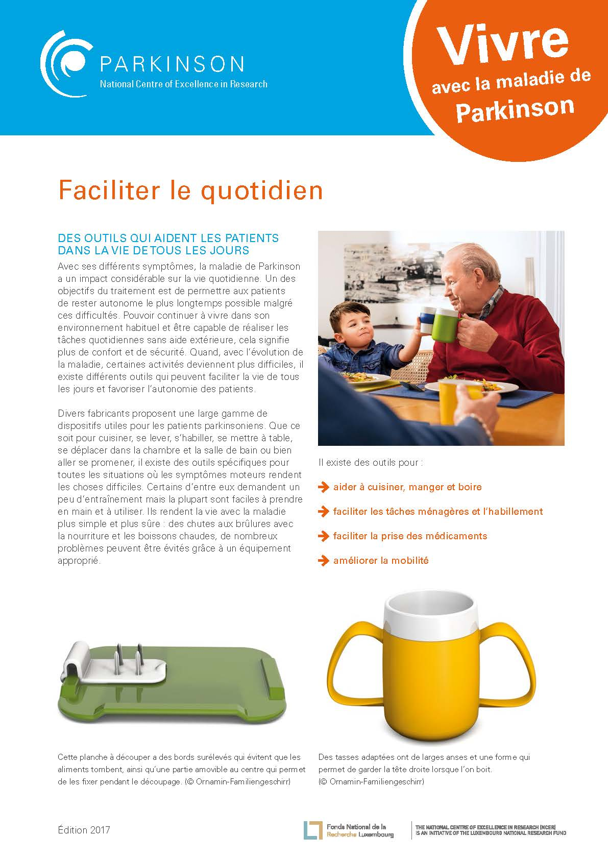 Fact sheet - la maladie de Parkinson - faciliter le quotidien