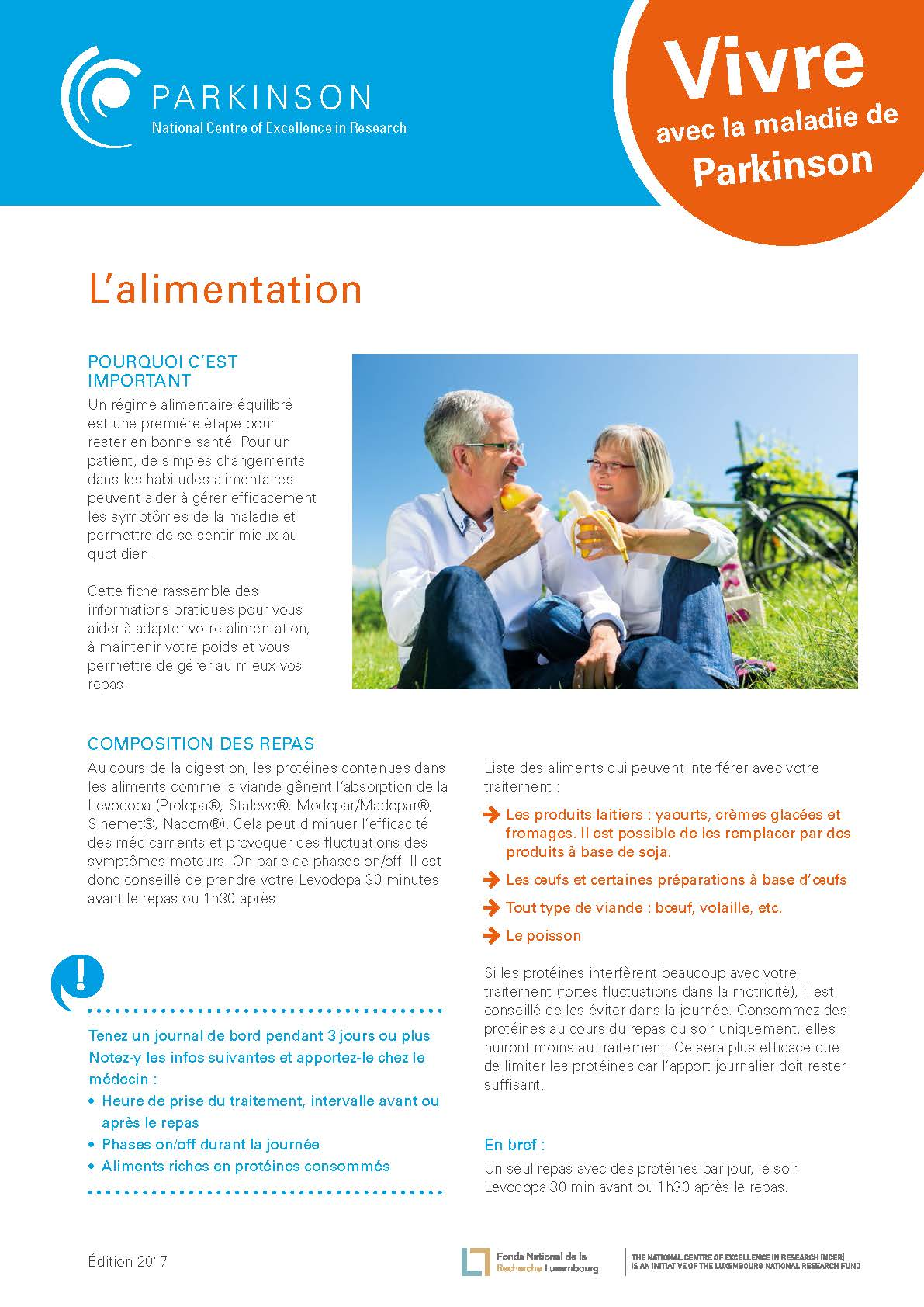 fact sheet - la maladie de Parkinson - alimentation