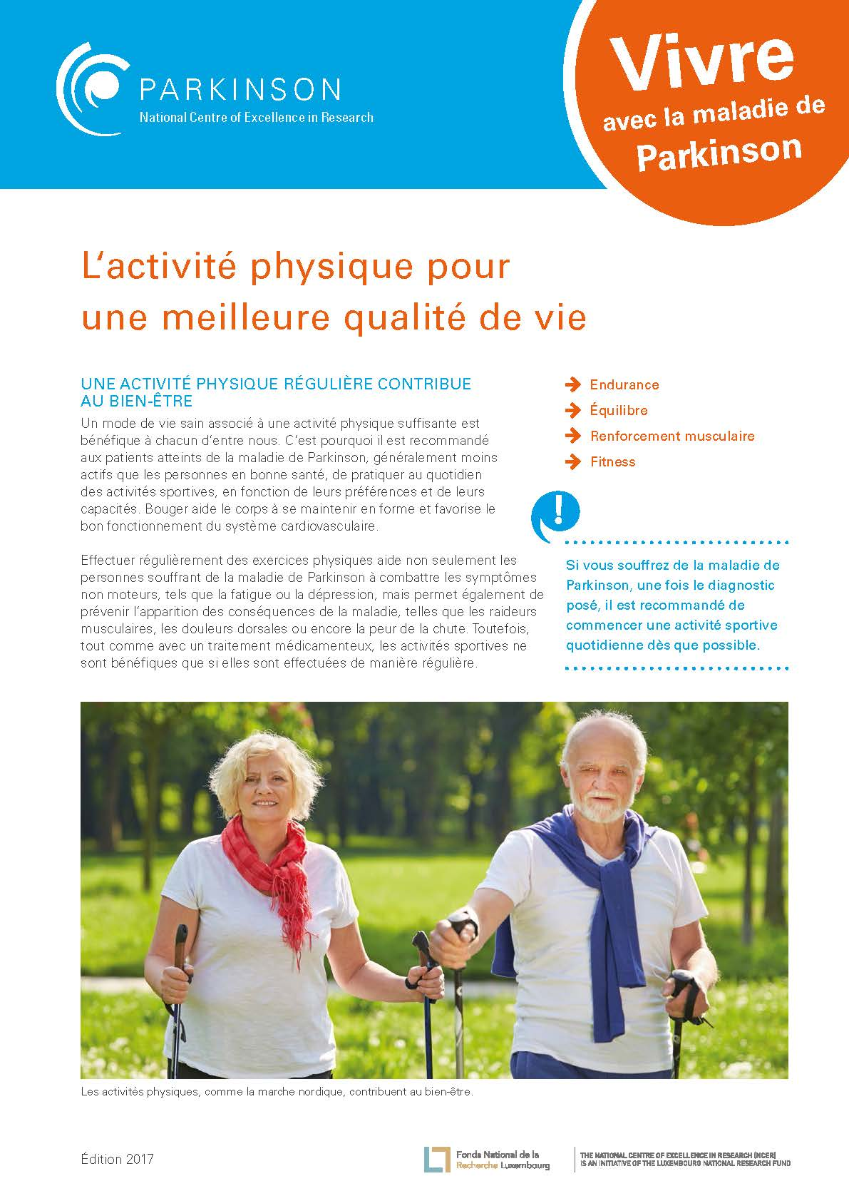 fact sheet - la maladie de Parkinson - activite physique