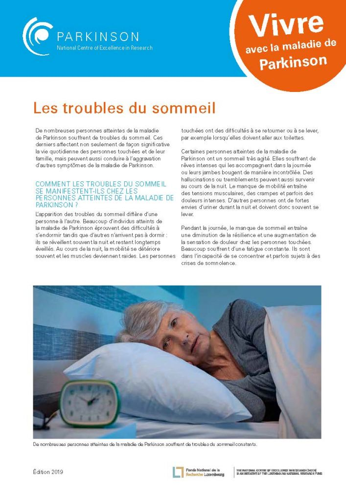 fact sheet - la maladie de Parkinson - troubles de sommeil